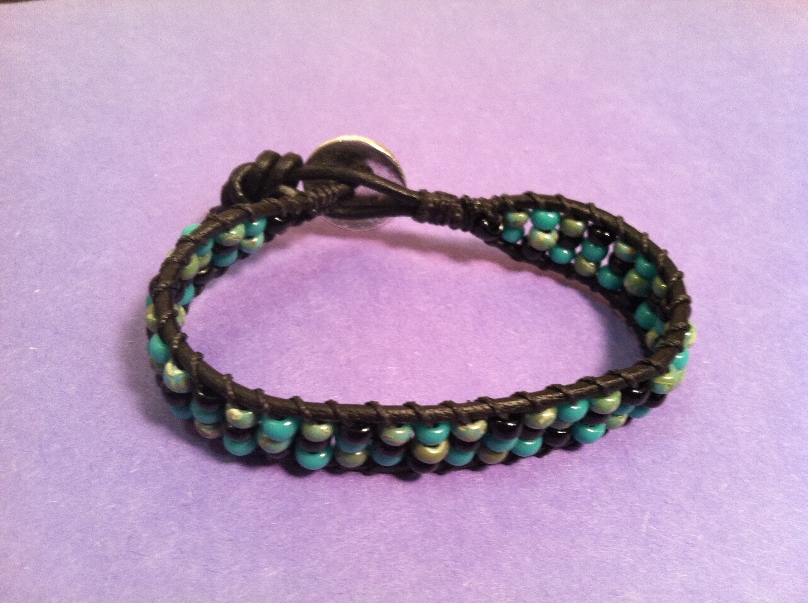 Stackable Bead Leather Bracelet
