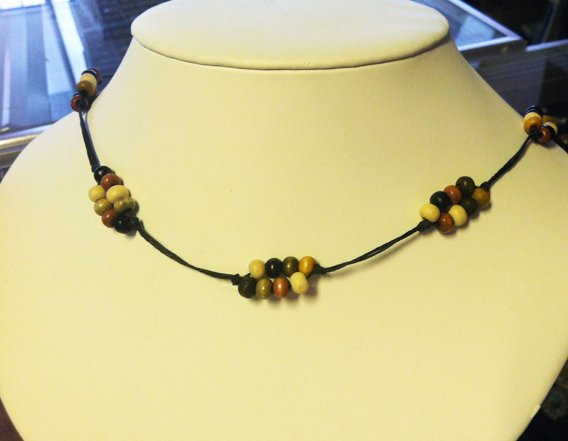 Waxed Linen Beaded Necklace